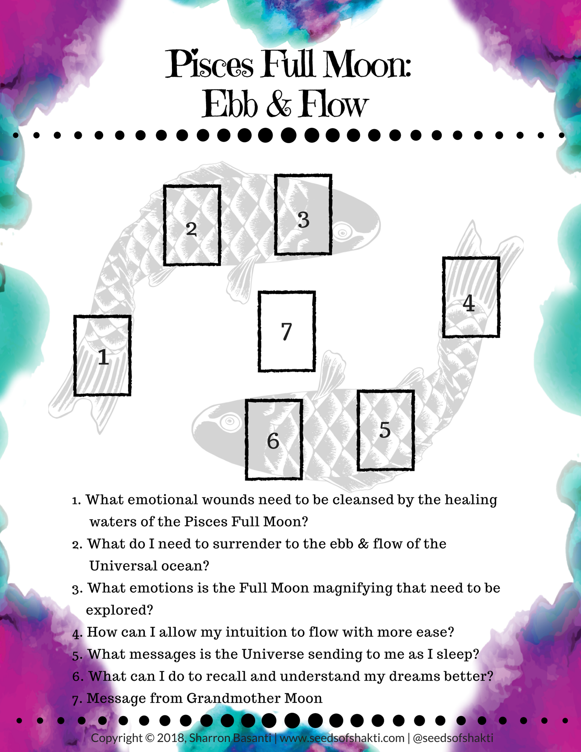 Download the Full Moon in Pisces Tarot & Oracle spread and read about the ritual! #fullmoontarotspread