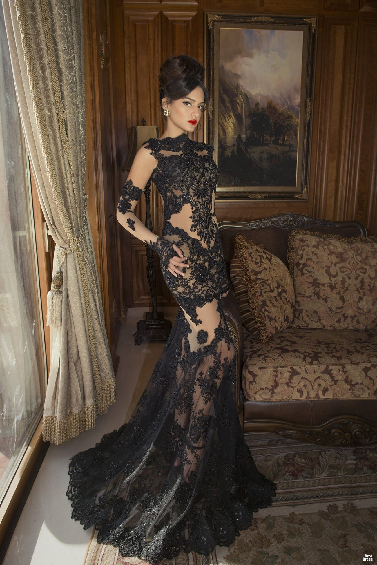 Long black lace dresses fashion pinterest dresses evening