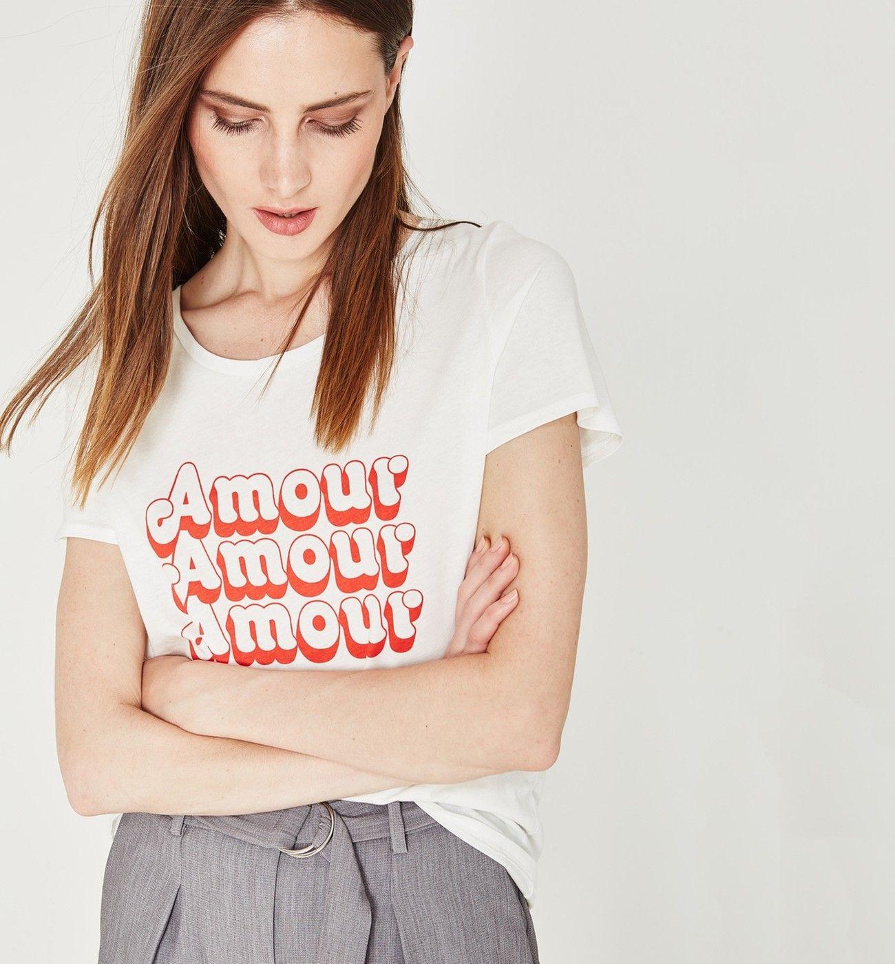 2f9da486a8dec T-shirt à message Femme - Ecru - Tops   T-shirts - Femme - Promod ...