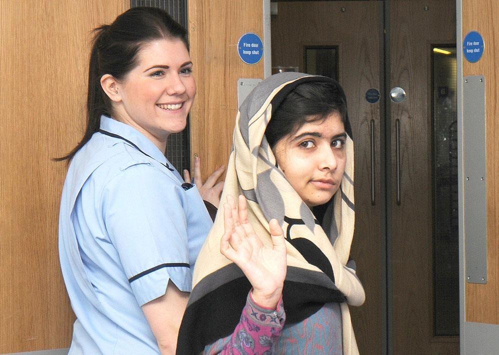 Malala return from Hospital - Queen Elizabath