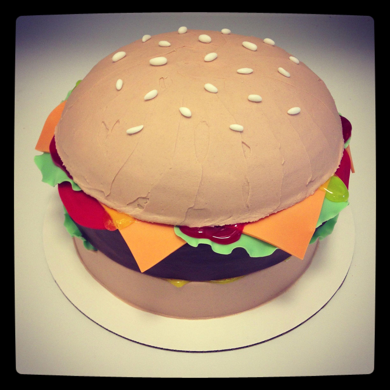 Cheeseburger Birthday Cake With Piping Gel Ketchup And Mustard