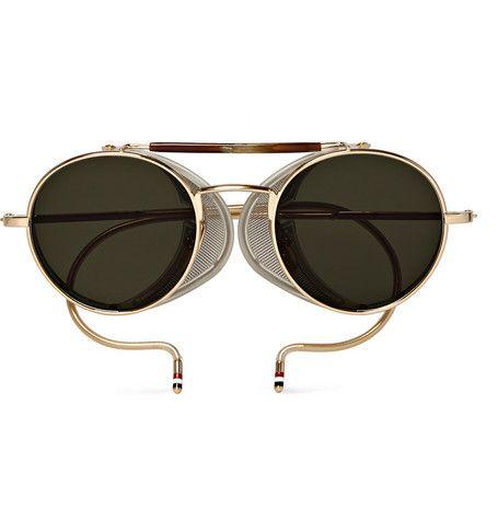80c9ee68c9 Thom Browne Round-Frame Gold-Tone Sunglasses