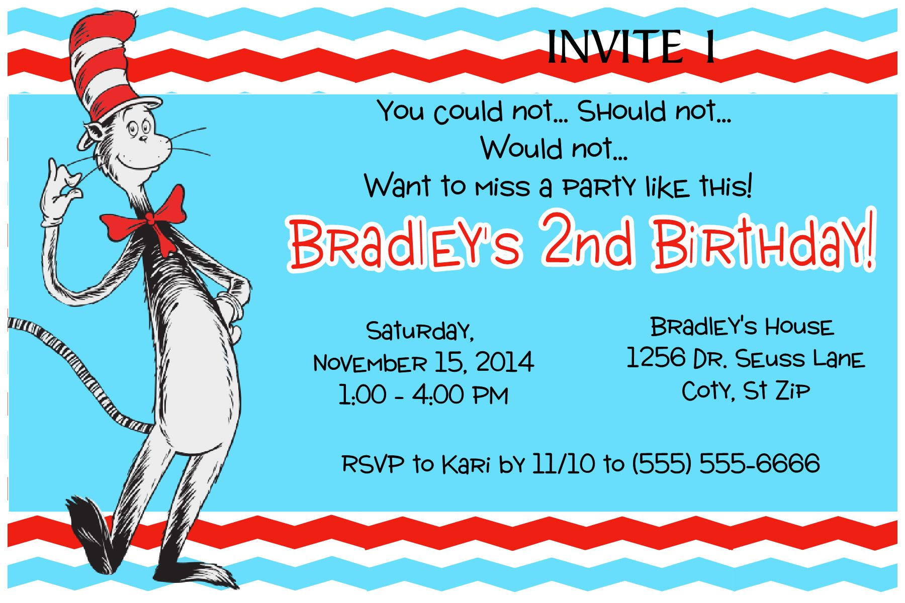 Dr Seuss Cat in the hat Birthday Invitation- Click on the image ...