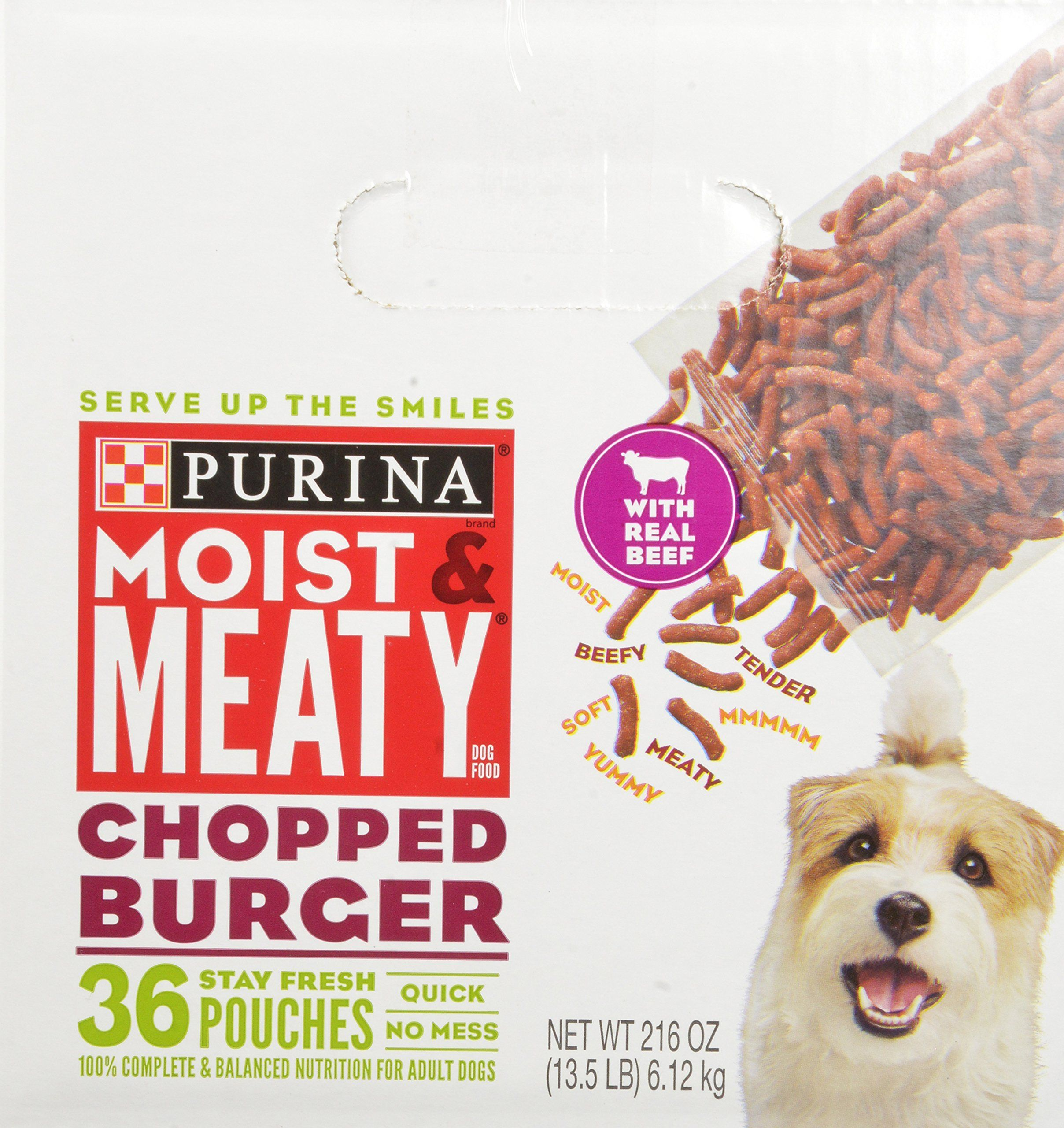 Purina Moist and Meaty Dog Food Chopped Burger 216Ounce ...