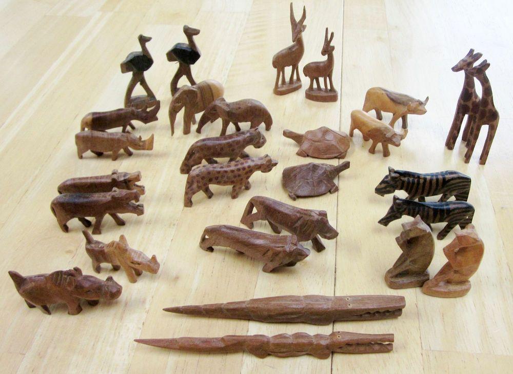 Vintage african hand carved wooden animals kenya