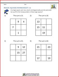 3rd Grade Magic Square Puzzle Fill In The Missing Numbers To Make A Magic Square Magic Squares Math First Grade Math Worksheets Magic Squares
