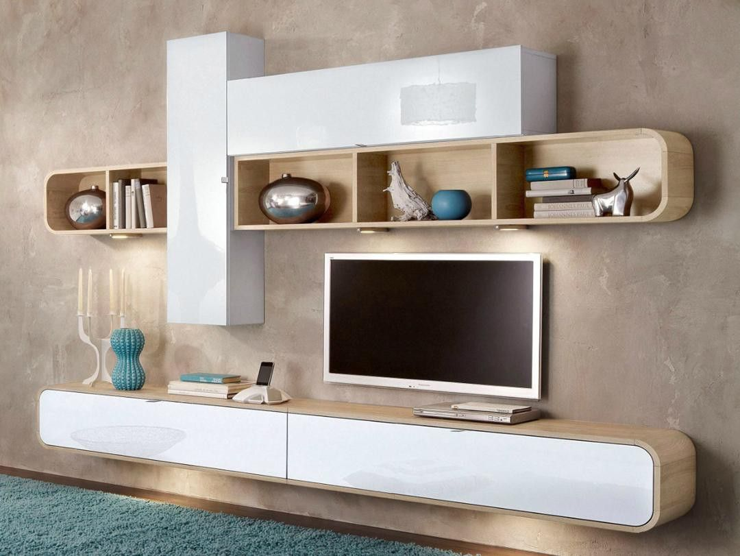 Composition murale design blanc laqu noyer pablo tv murale principal et tv - Meuble tv design suspendu ...
