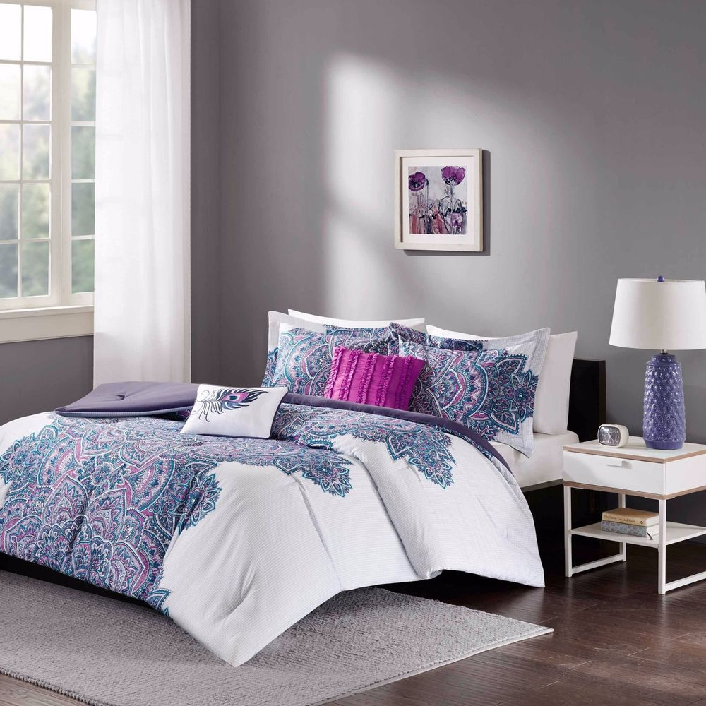 Floral Medallion Purple White Teen Girl Bedroom Comforter Set Full ...