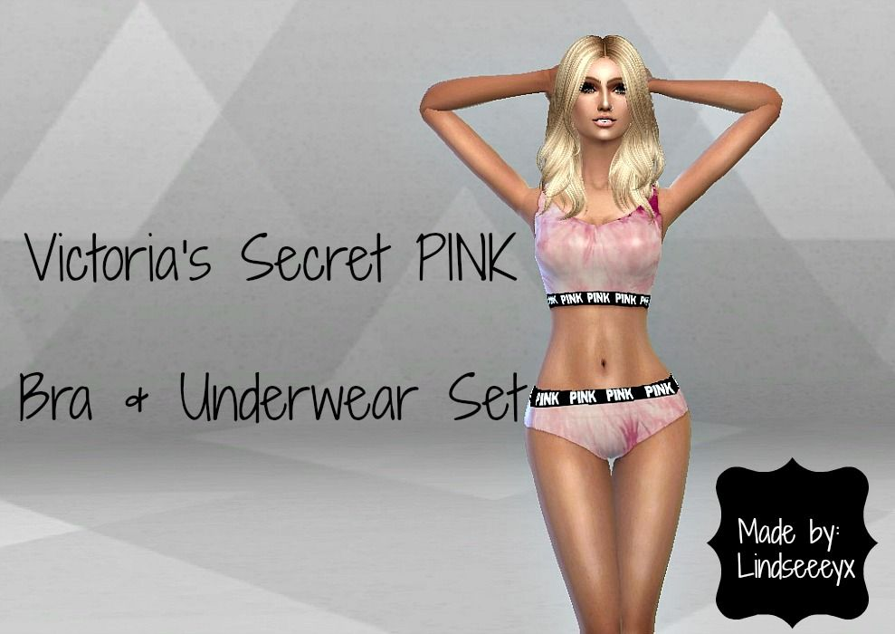 804d36c420f91 Mod The Sims - Victoria s Secret PINK Tie Dye Bra   Underwear Set ...