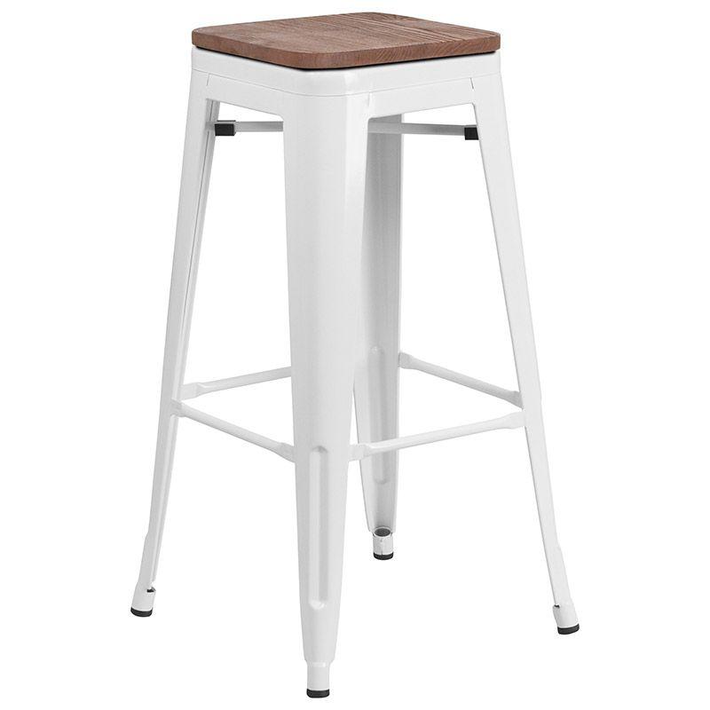 Metro Backless Bar Stool White Wood White Bar Stools Bar Stools Flash Furniture