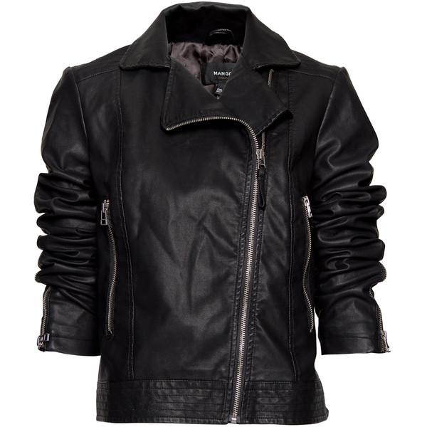 Mango cropped leather biker jacket $115