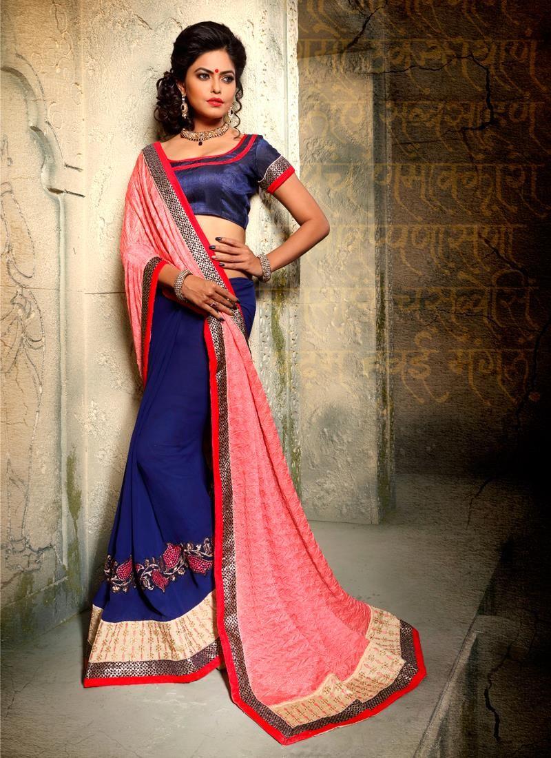 6e8a5883942b Honourable Navy Blue Embroidered Work Georgette Designer Half N Half saree