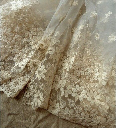 Marvelous Creamy Wedding Lace Fabric Chic French Embroidered By Lacetime, $28.00 Amazing Ideas