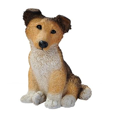 Brown Collie Puppy Dog Statue. Few can deny the tug-at-the-heartstrings draw of this timeless image of man's best friend. Designed in Bagni di Lucca, Italy by the artisans of the renowned Castagna workshop, each Collie puppy statue is researched for authenticity of breed. #dog #collie #statue