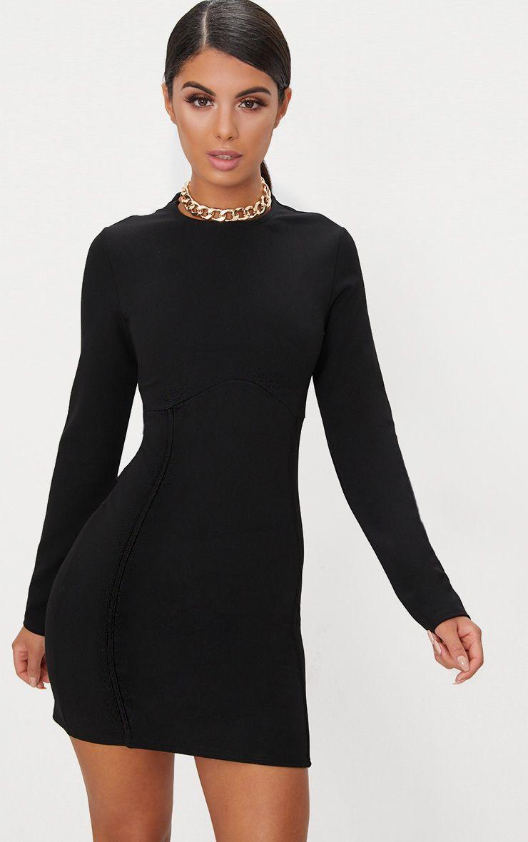 Black long sleeve bodycon dress no dress