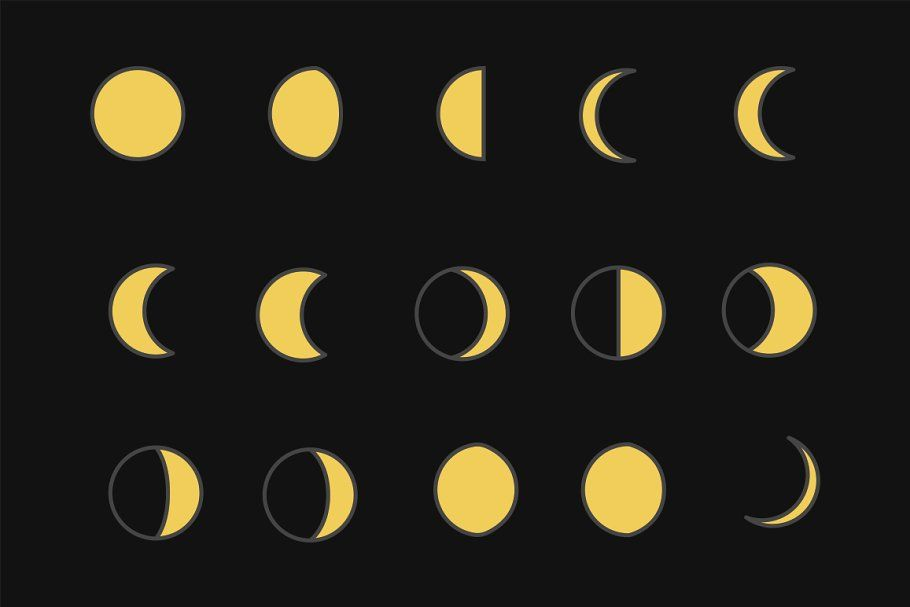 15 Moon Phases Icons In 2020 Moon Phases Icon Simple Icon