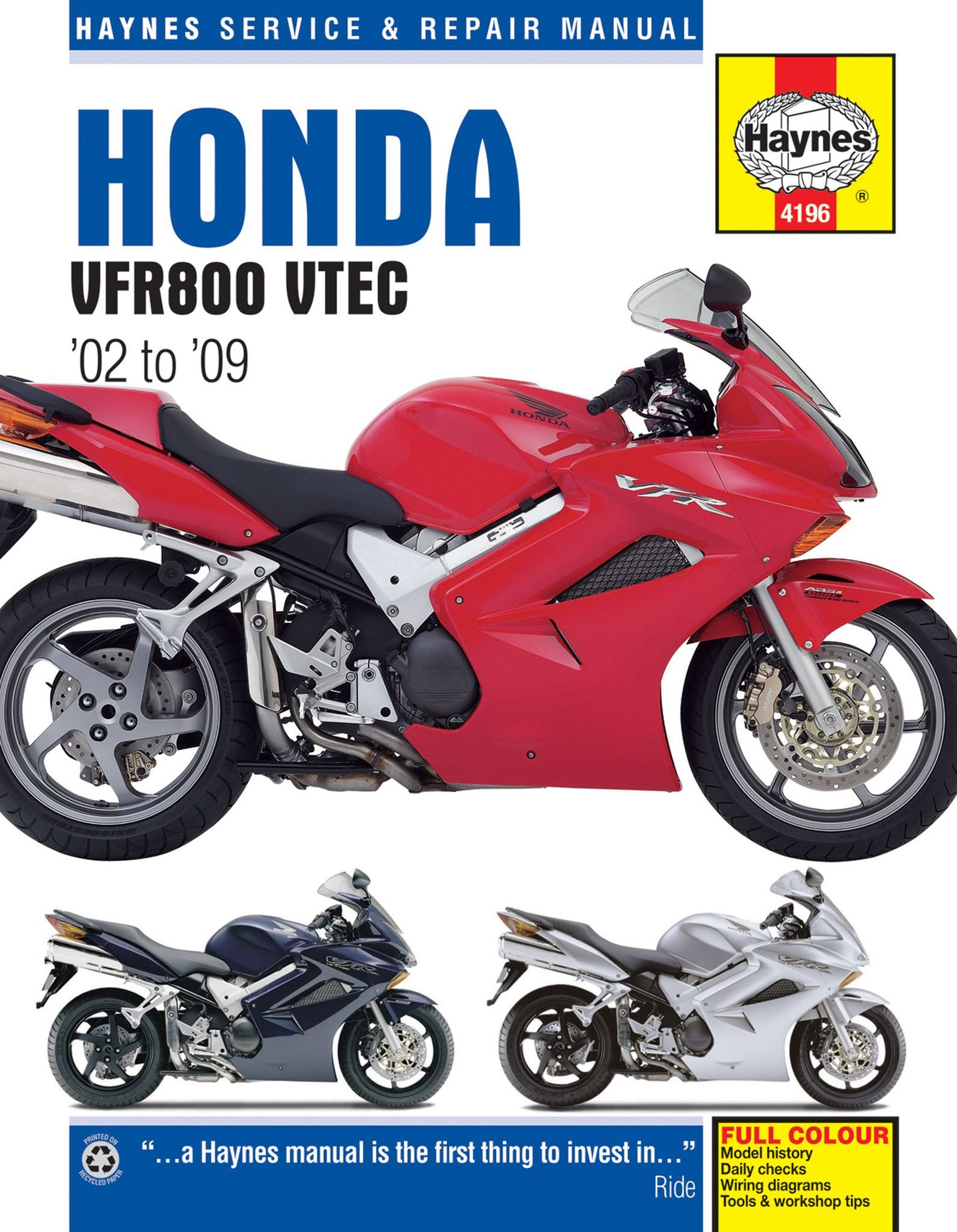 Haynes M4196 Repair Manual for 2002-09 Honda VFR800 VTEC 782cc