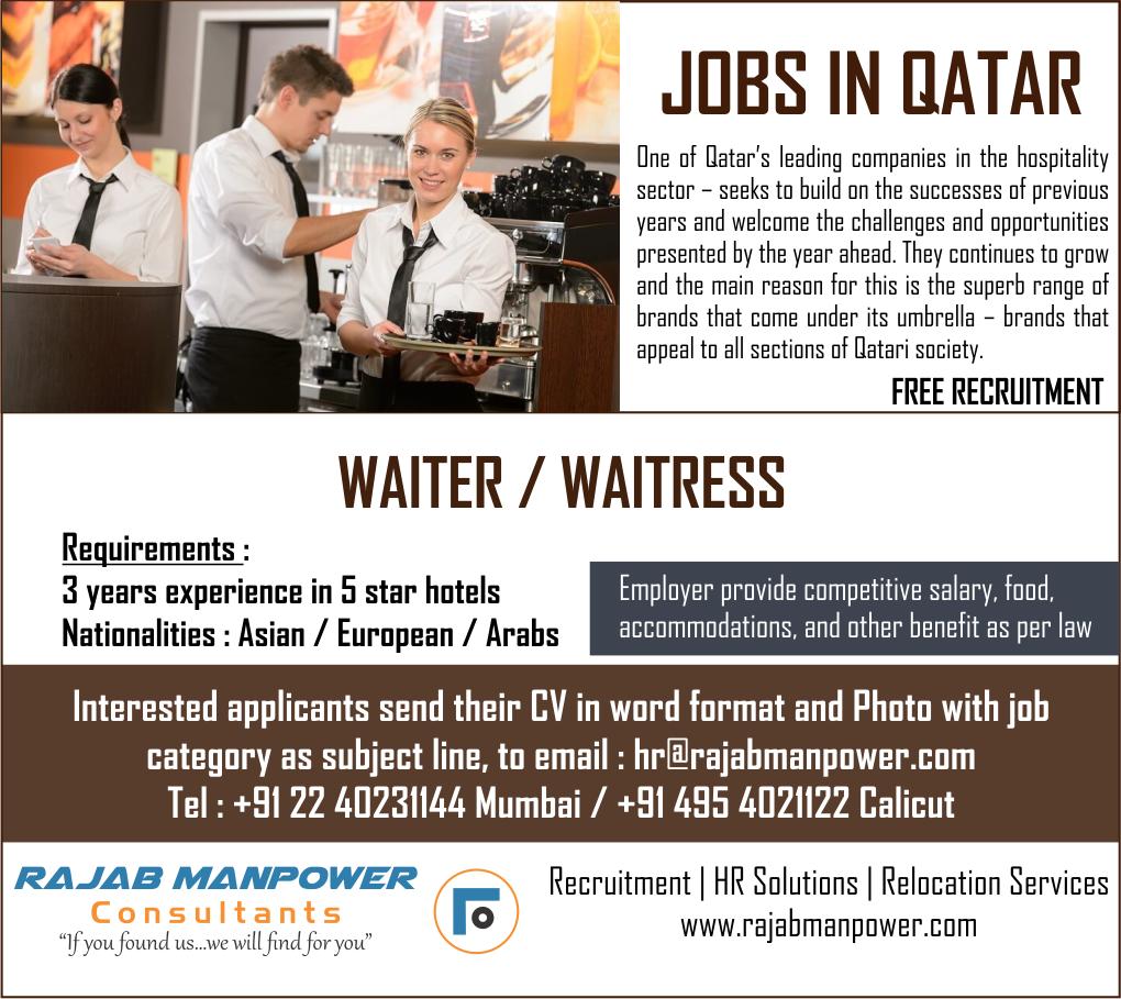 Waiter Waitress For Qatar Free Recruitment Employment News