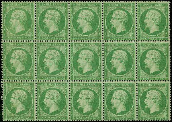 France, Michel 5 C. Green, Horizontal Block Of Unused With Original Gum And  Paper Hinge Marks/remainders, The Central 3 Stamps Unmounted Mint, ...