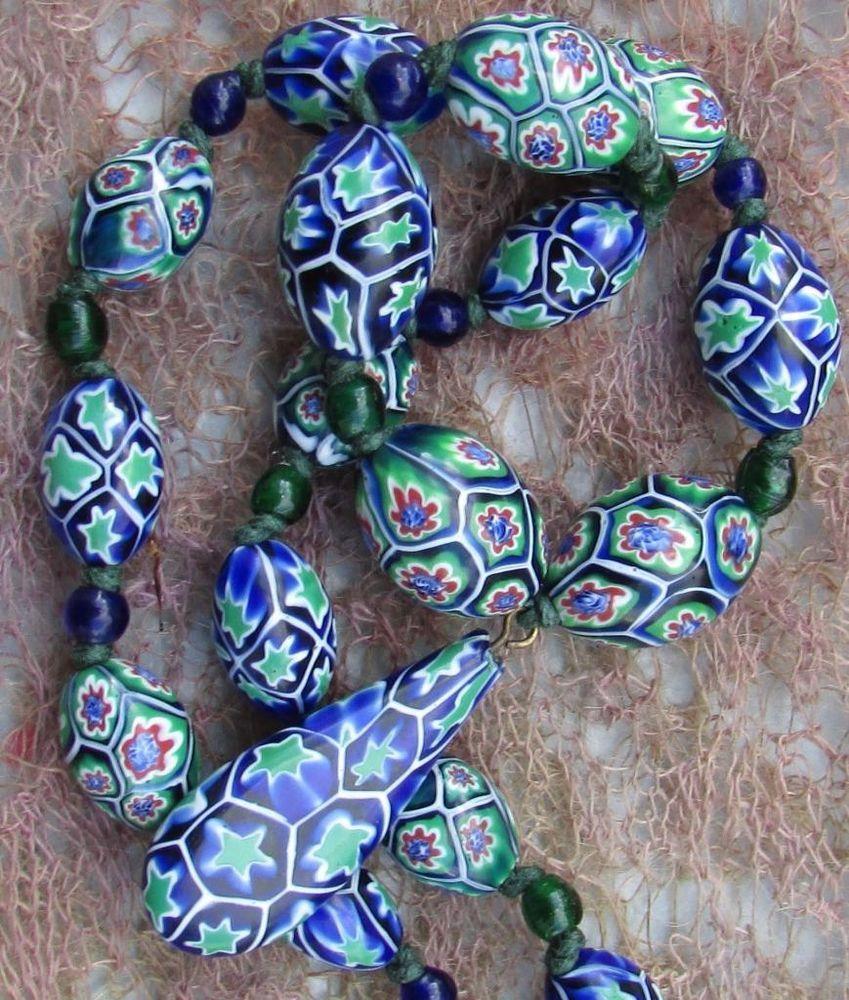 Art Deco Venetian Matched Moretti Millefiori Glass Beads Pendant Necklace