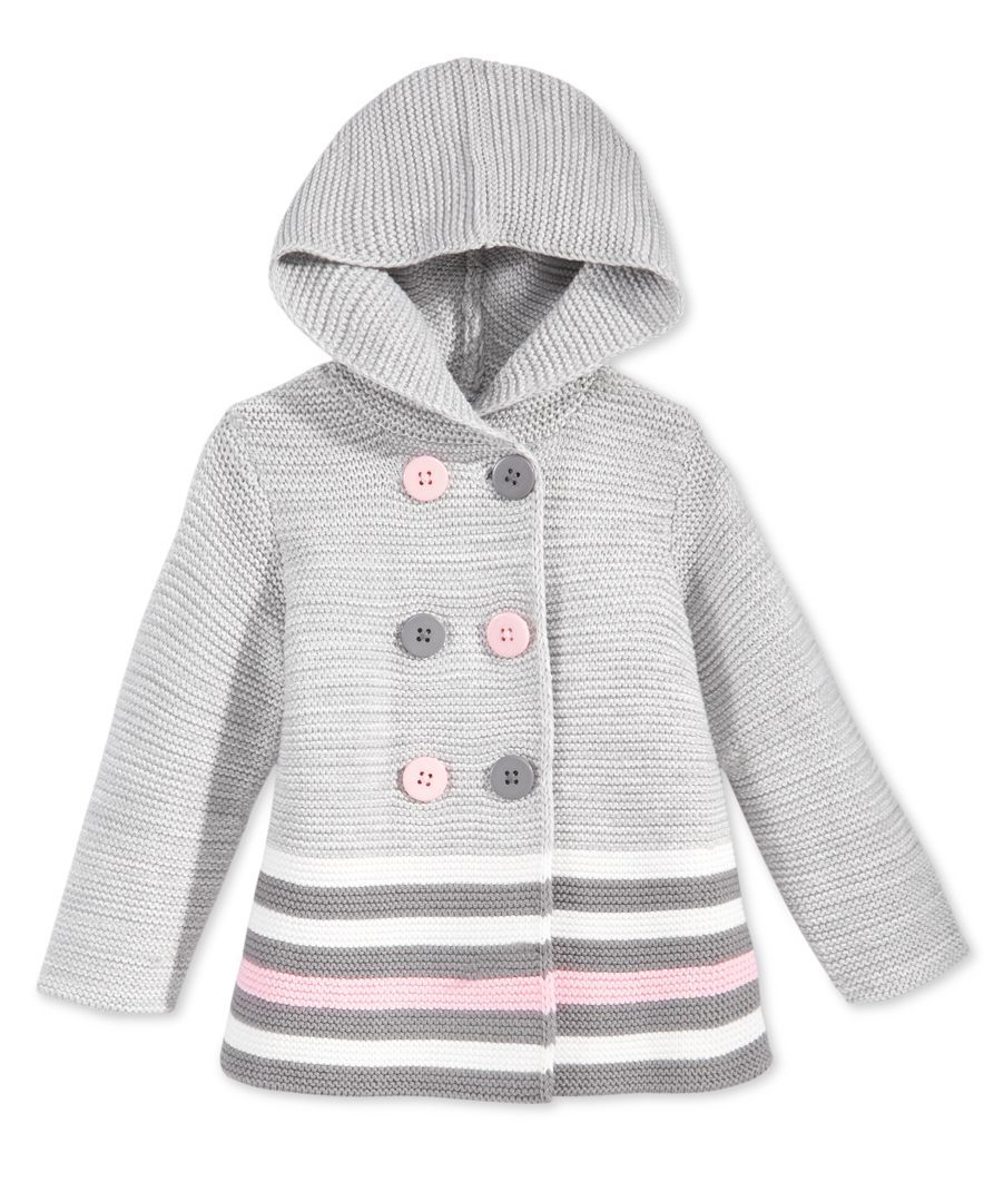 First Impressions Baby Girls\' Double-Breasted Striped Hooded Sweater ...
