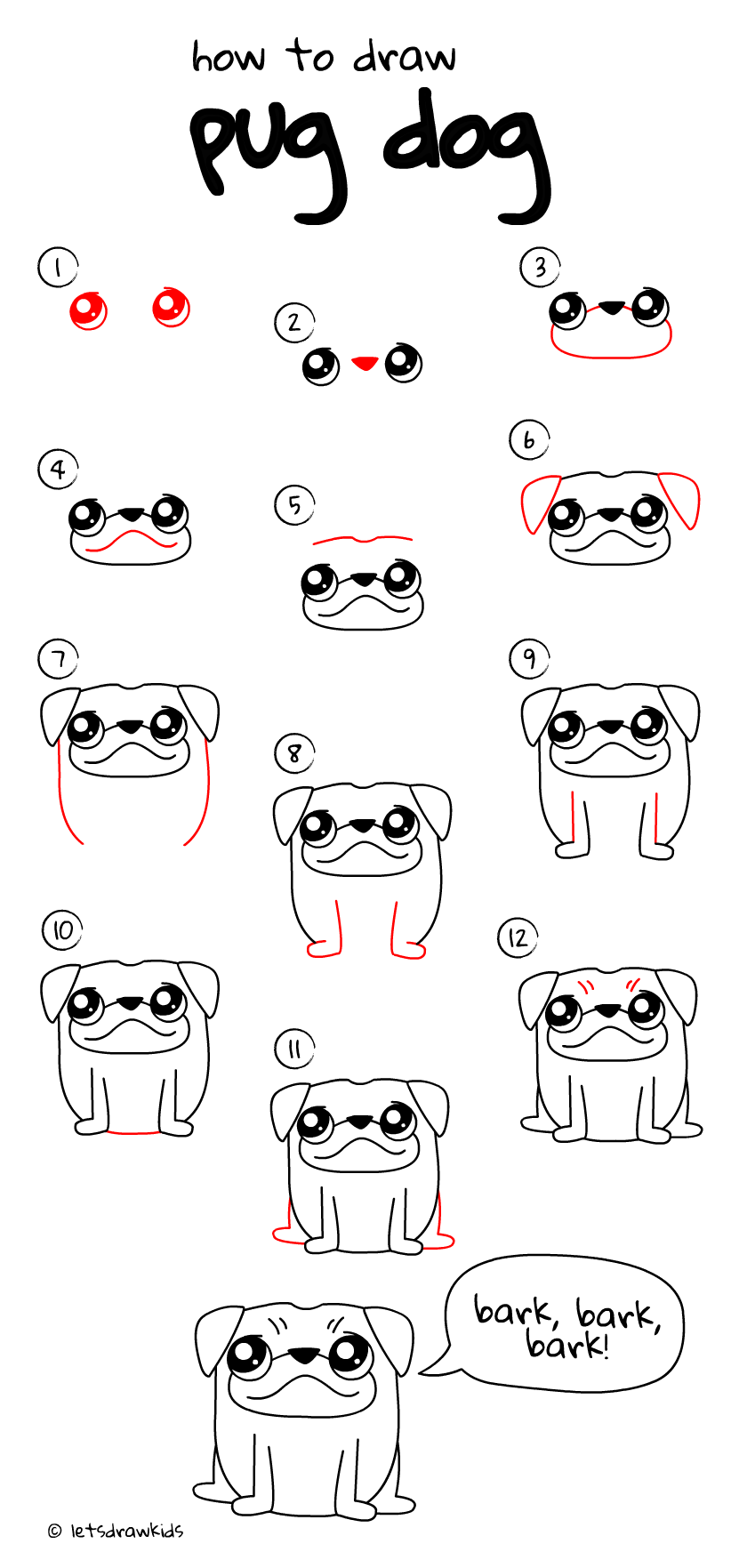 Dog drawing for kids step by step