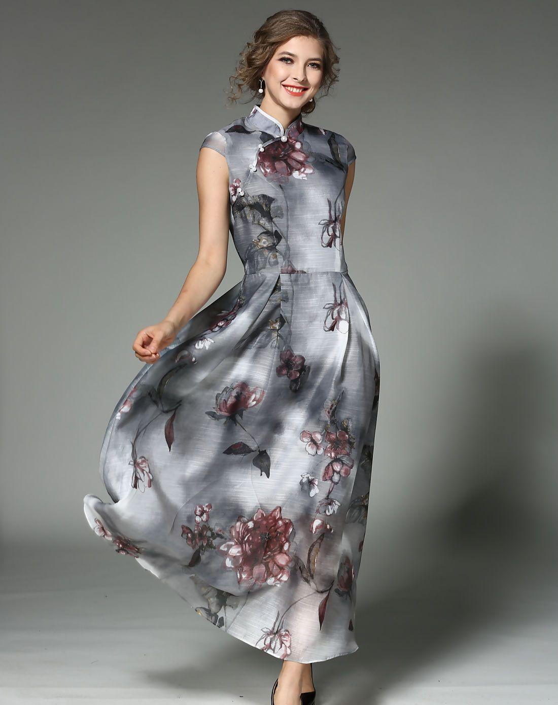 Adorewe Fwaysby Gray Cap Sleeve Grenadine Floral Print Maxi Dress