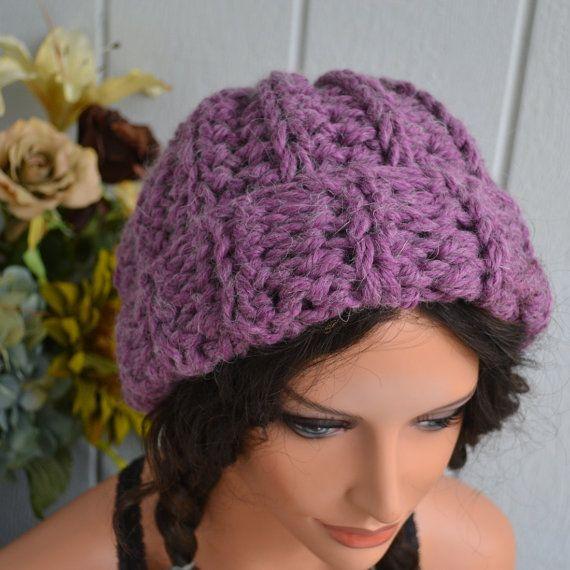 Chunky Slouch Hat - Crocheted- Wool Alpaca Blend- Grape Hyacinth