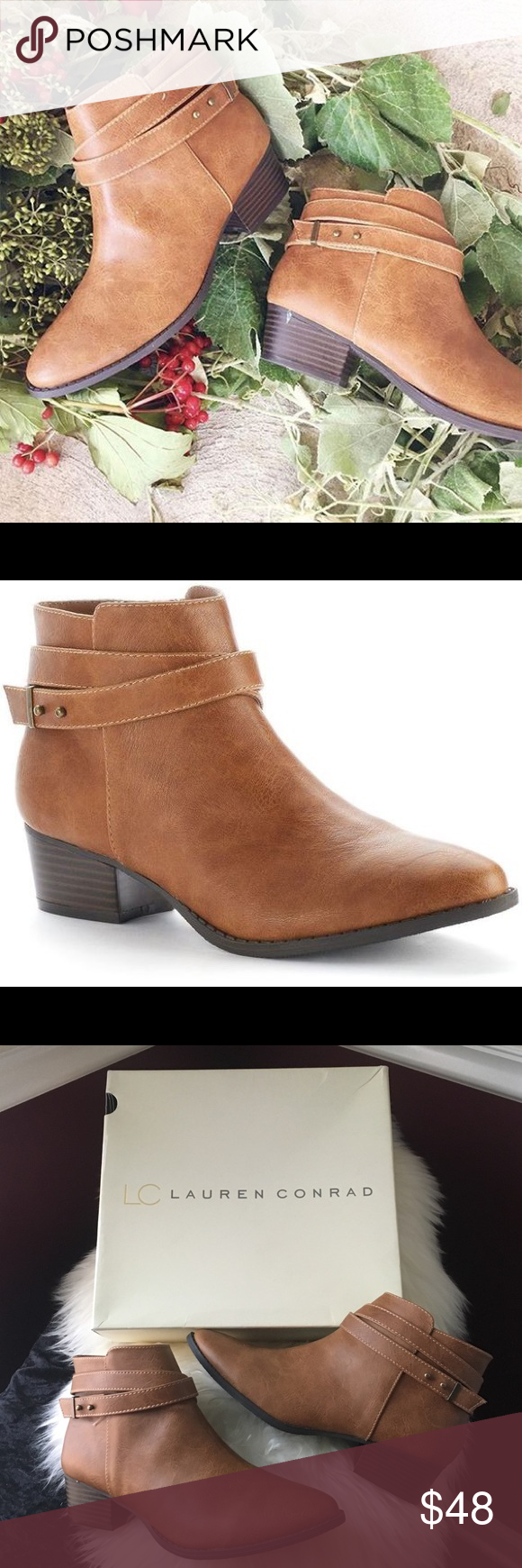 """LC Lauren Conrad """" Belle"""" Strappy Ankle Boot Strappy upper. Stacked chunky heel. Side zipper. Details: pointed toe. Fabric lining. Lightly padded footbed. Man made upper. TPR sole. 1 1/2"""" heel. Brand new in box. Color tan LC Lauren Conrad Shoes Ankle Boots & Booties"""