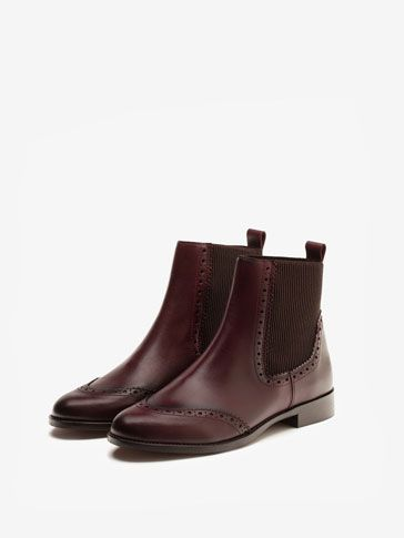 10} {11} {9}´s BURGUNDY CHELSEA BOOTS at Massimo Dutti for
