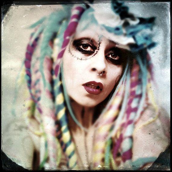 Candy Dreadlock Wig, bright colorful dread locks Big Cosplay Festival Hair, Bohemian Circus Perform