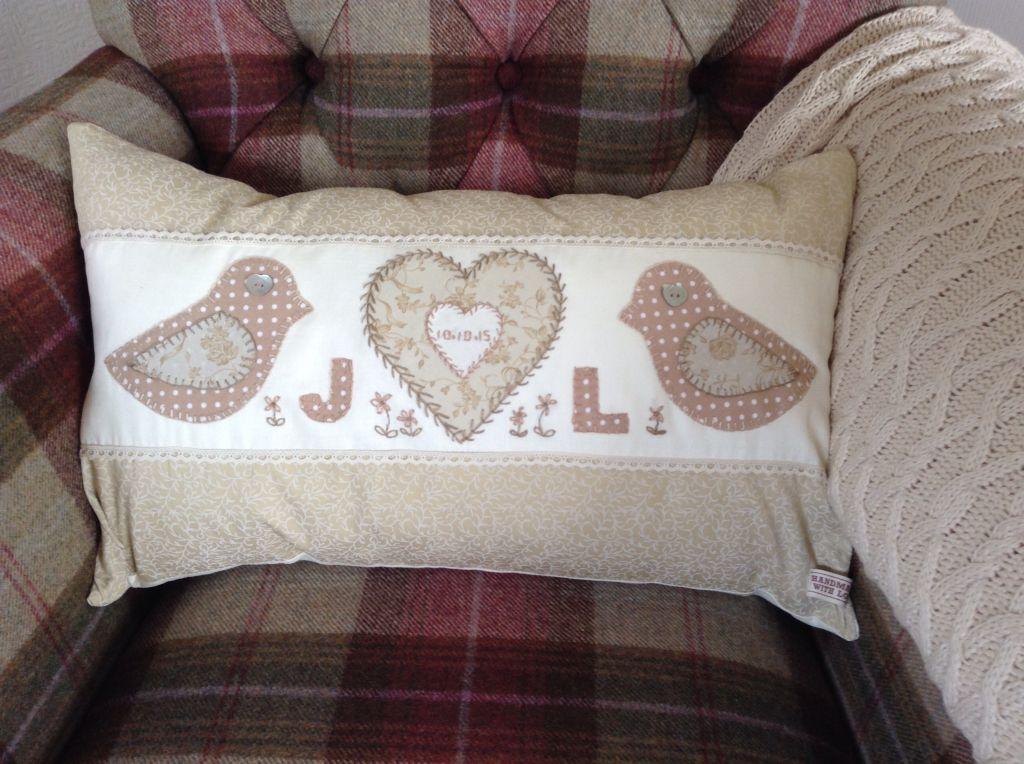 Handmade cushion. Present for newlyweds