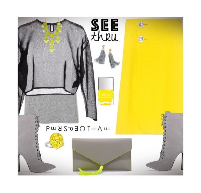 """A Clear P e r s p e c t i v e: See T h r u You"" by nonniekiss ❤ liked on Polyvore featuring Marni, Neiman Marcus, Yves Saint Laurent, Natasha Accessories, J.Crew and Nails Inc."