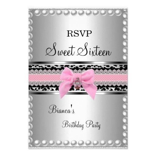 RSVP Sweet 16 Pink Lace Silver Pearl Leopard Custom Invitations