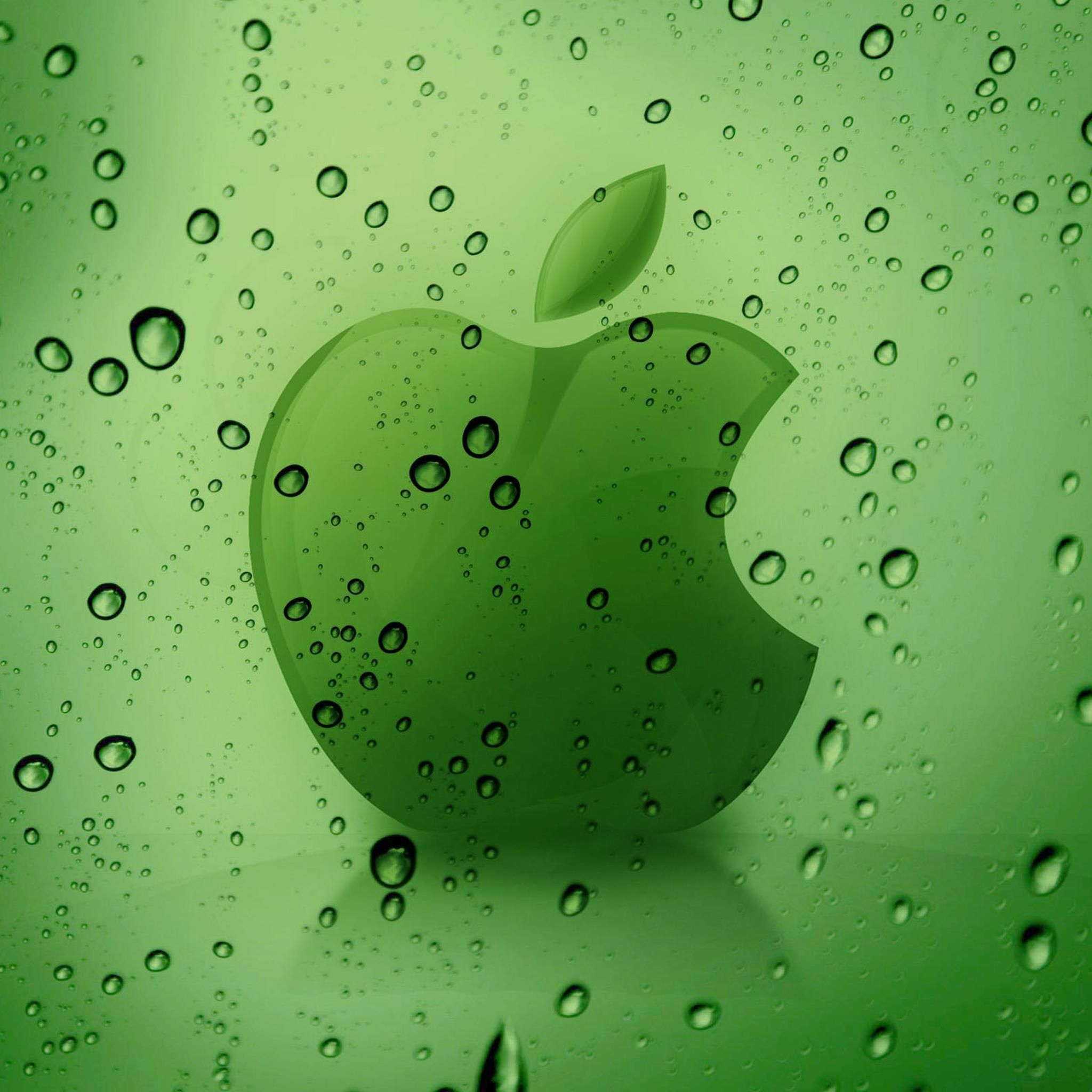Apple Logo Behind Water Drops Retina iPad Wallpaper HD