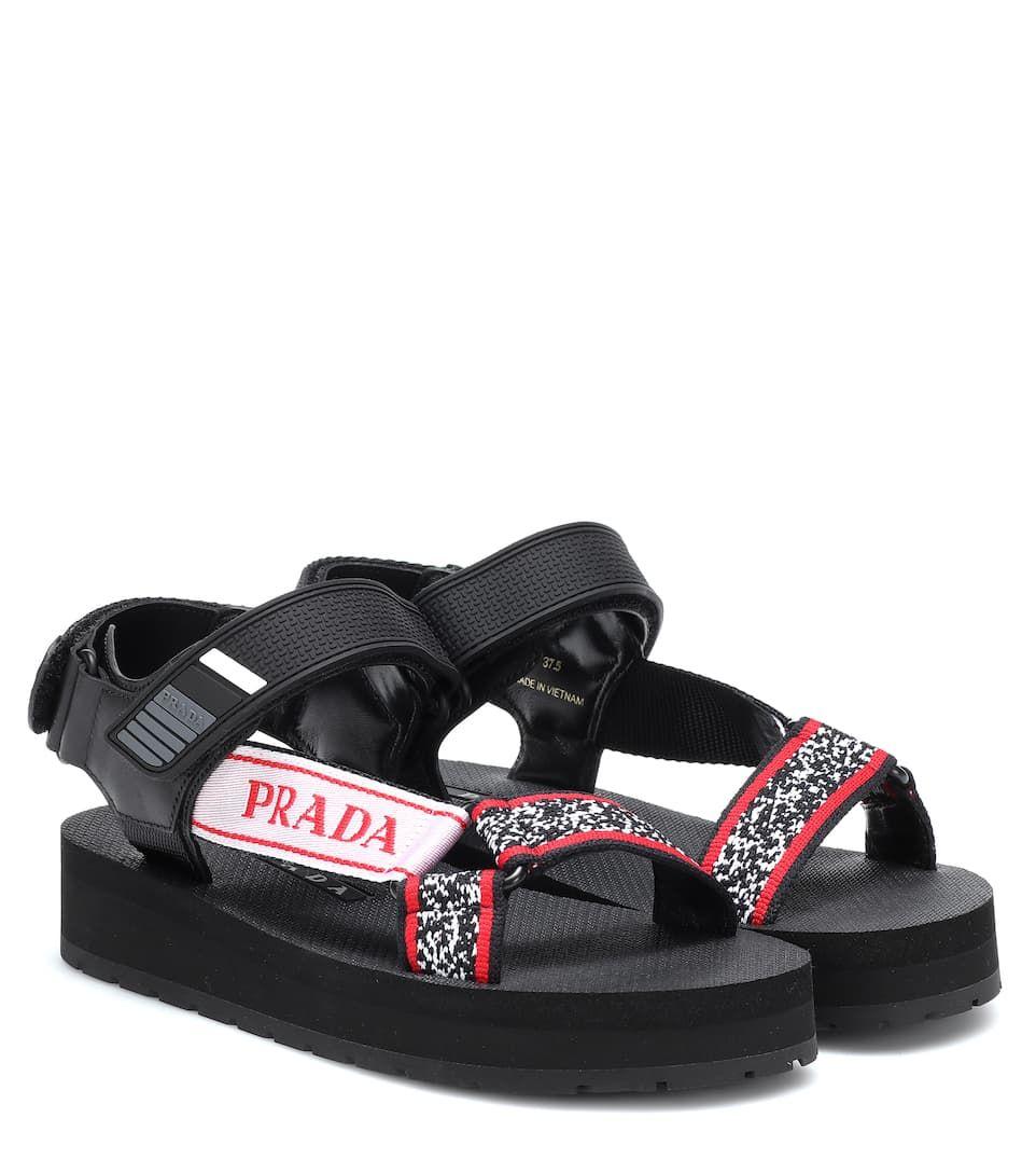 Leather-Trimmed Sandals - Prada