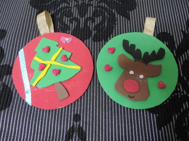 Cosas de cari adornos de navidad con cd s reciclados y - Cosas de goma eva ...
