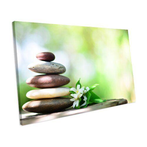 Photo of Leinwandbild Zen Stones Jasmine Green Bathroom ModernMoments Größe: 82 cm H x 128 cm B