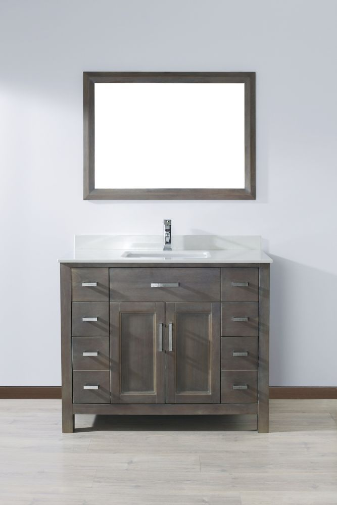 Kelly 42 In French Gray Vanity Ensemble With Mirror And Faucet