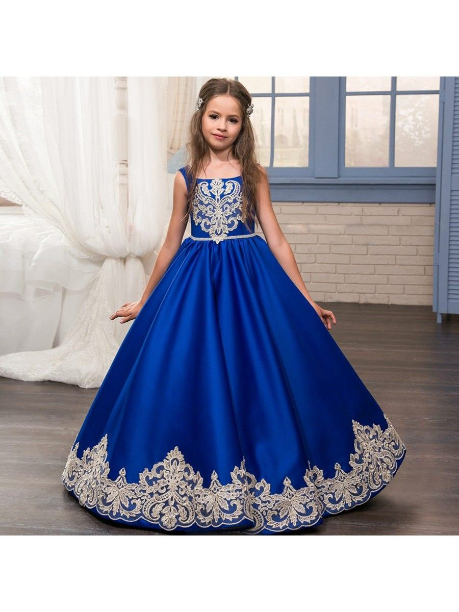8e0871c60f Lace Appliques Blue Princess Ball Gown Flower Girl Dresses 5501018 ...