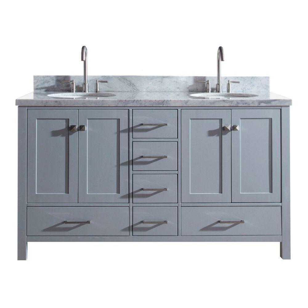 Cambridge 61 Inch Double Oval Sink Vanity In Grey In 2019