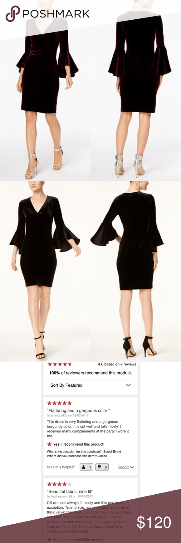 5f361cb0a6f30 Sexy BLACK Velvet V-neck Bell-Sleeve Wrap Dress Size 2. Calvin Klein  Elegant Classy Trendy Black Velvet Dress. Second picture shows actual color  of dress.