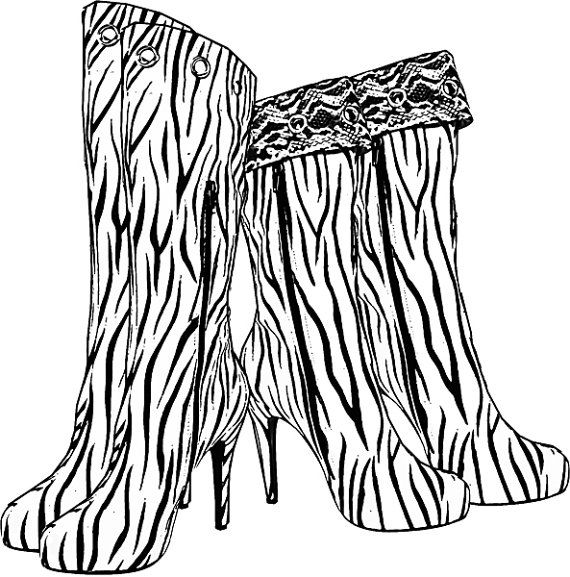 find this pin and more on coloring pages for adults and children printables zebra boots high heel