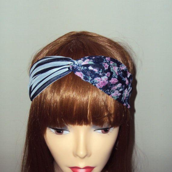 Chiffon Turban Head Wrap Two Toned Twisted Headband Yoga Bandana Stretch Elastic Back Hair Accessories Gift Ideas Fashion Accessories by GrahamsBazaar, $10.00