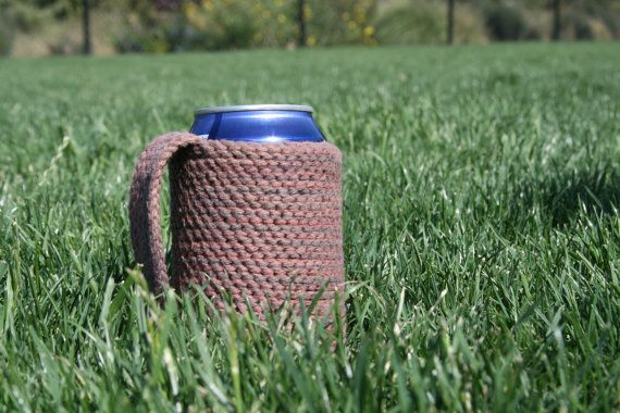 I own one of these myself and it is awesome. This is a crochet coozie with a handle.    Red Poppy Blue    $12.00