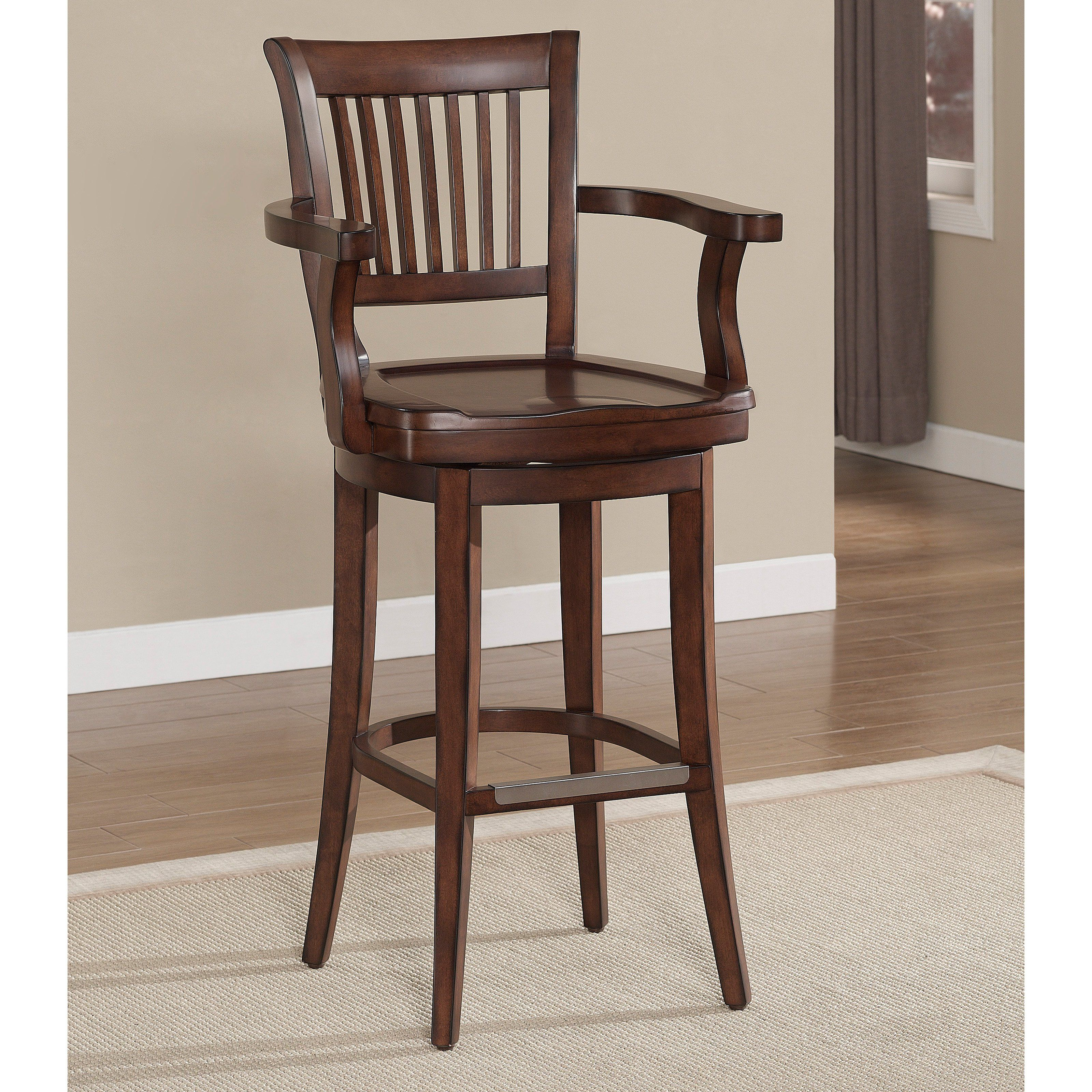 Furniture Brown Varnished Pine Wood Bar Stool With Arm And Back