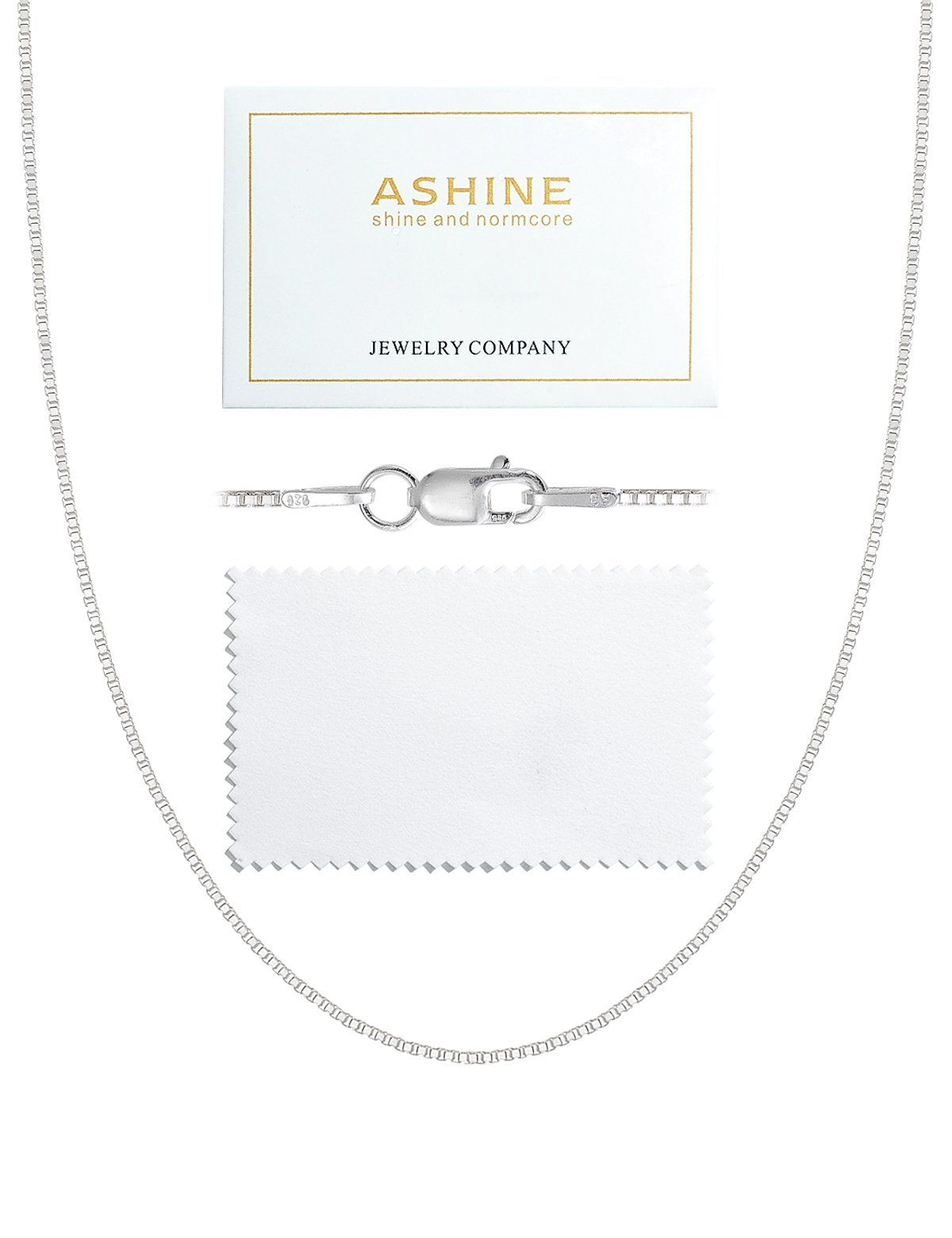 Made in Italy Cleaning Cloth 1mm 925 Sterling Silver Nickel-Free Box Chain Necklace 14 inches