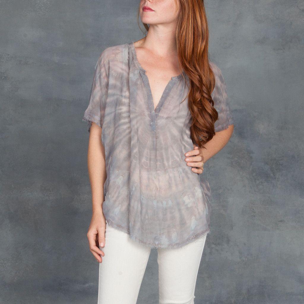 Raquel Allegra Short Sleeve Shirred Silk Blouse