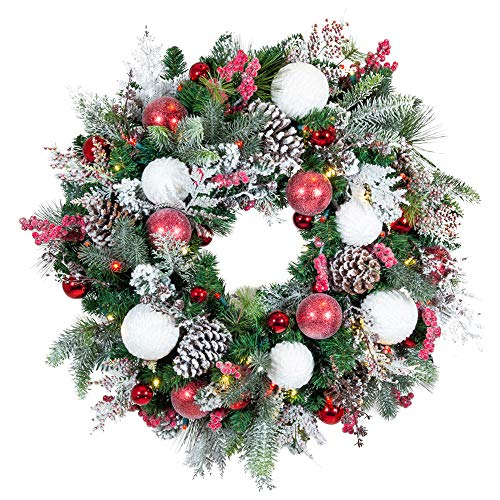30 Inch Artificial Christmas Wreath Frosted Wonderland Collection Red White Decoration Pre Lit With 50 Candy Financial Lifestyle Artificial Christmas Wreaths Christmas Wreaths White Christmas Wreath