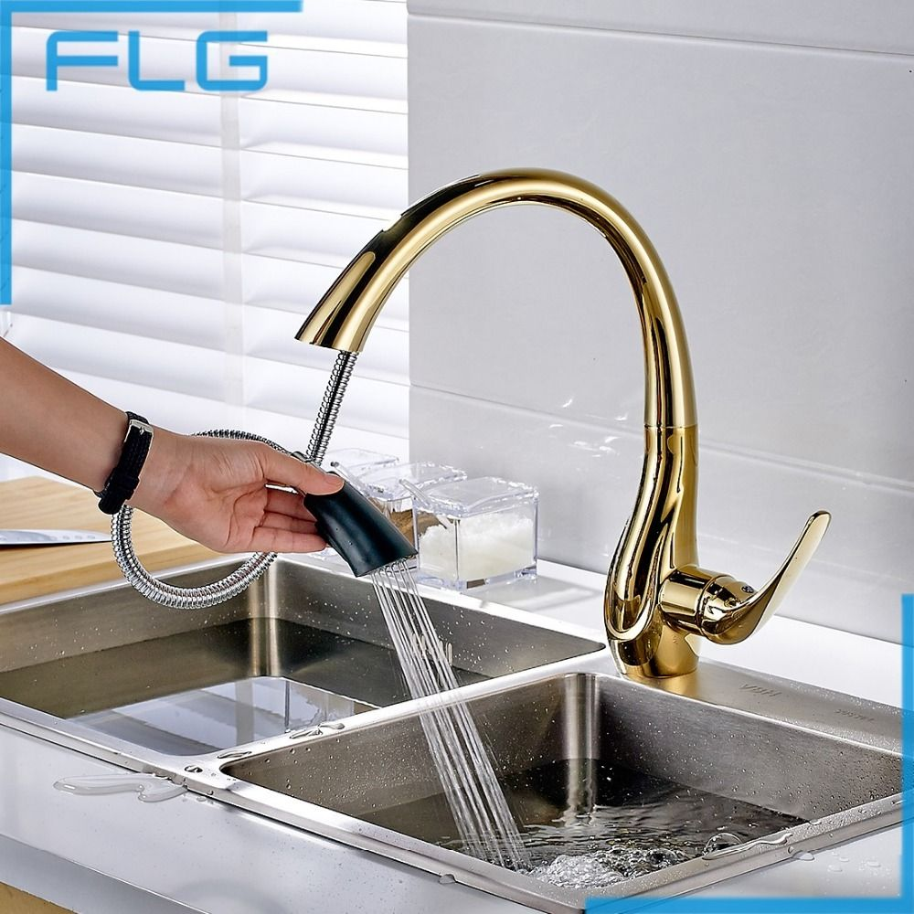 Copper kitchen faucets pull out -  126 14 Buy Free Shipping Pull Out Gold Kitchen Faucets Hot And Cold Vegetables Basin